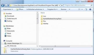 Kachelofen Berechnungsprogramm - löschen der virtuellen Kopie