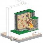 Kachelofen Grundofen - Technische Darstellung Kachelofen - Heizkamin - Technische Darstellung - Schnittansicht - Funktionsweise