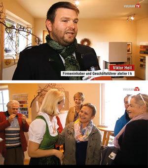 """Die Firmeninhaber Viktor Heil und Gabriele Heschl präsentierten im Fernsehen den neuen Schauraum von Atelier """"K"""" Heil KG und warben dabei für den Kachelofen als ideales Heizgerät."""