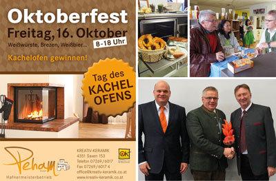 Mit diesem Flugblatt hatte Kreativ-Keramik zum Oktoberfest eingeladen. Für den Erfolg wurde Josef Peham mit dem KOK Award 2016 ausgezeichnet.