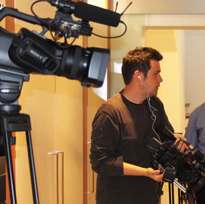 Fernsehkameras für den Tag des Kachelofens. In der ersten Oktoberwoche dreht RTL.