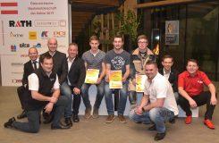 Die drei Gewinner des Hafnerwettbewerbs mit den Sponsoren.