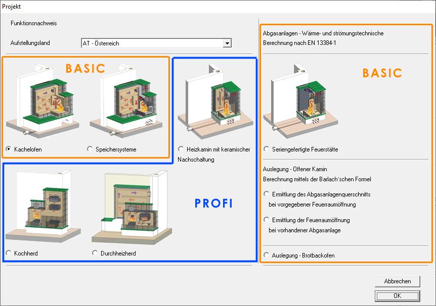 Kachelofenberechnungsprogramm - KOV